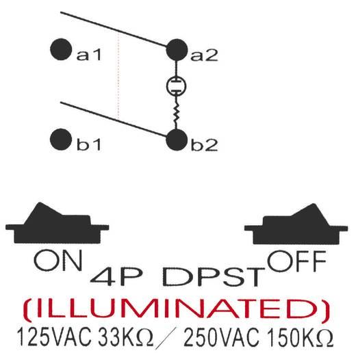 Nyomógomb 250 V/AC 10 A, 2 x ki/be, SCI R13-537A B/R/G
