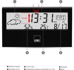 Digitális időjárásjelző állomás, fekete, Clatronic WSU 7022 170220 Clatronic