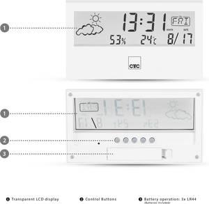 Digitális időjárásjelző állomás, fehér Clatronic WSU 7022 170221 Clatronic