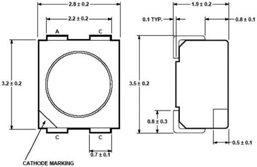 SMD LED PLCC4, 715-1400 mcd, 120°, 50 mA, 2,8 V, borostyán, Avago Technologies ASMC-PAB9-TV005