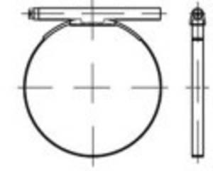 Csőbilincs kerek csavarral, egy darabból, TOOLCRAFT DIN 3017 1.4016 (W2) Form C1 méret: 112-121/25 mm 25 db TOOLCRAFT