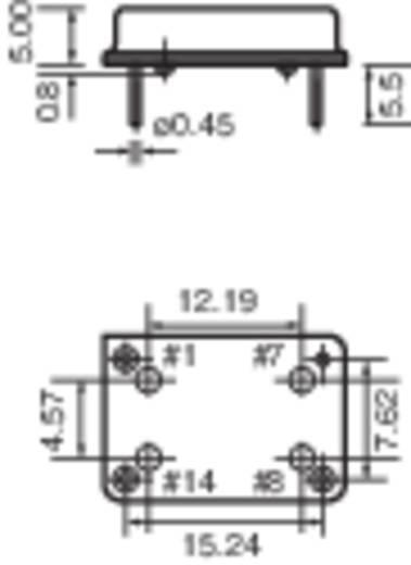 Kvarc oszcillátor, frekvencia: 25 MHz, DIP 14, (H x Sz) 20,7 x 13,1 mm, TFT680