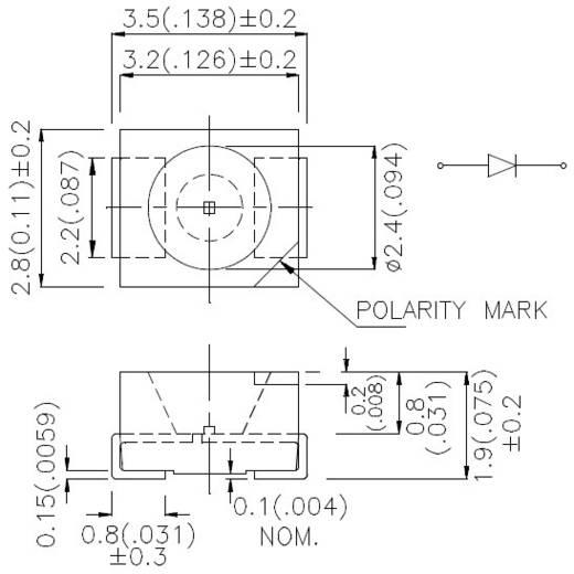 SMD LED PLCC2 Kék 60 mcd 120 ° 20 mA 3.3 V Kingbright KA-3528PBC-A