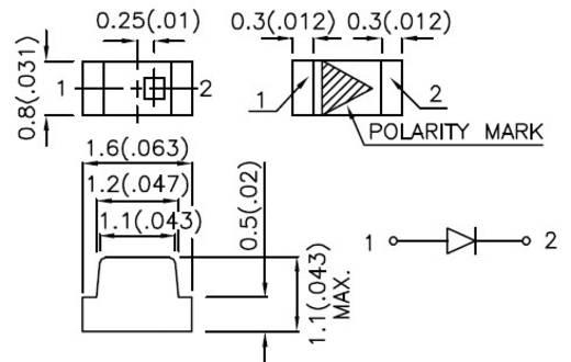 SMD LED 0603 Piros 100 mcd 120 ° 20 mA 1.85 V Kingbright KP-1608SRC-PRV