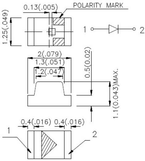 SMD LED 0805 Piros 12 mcd 120 °