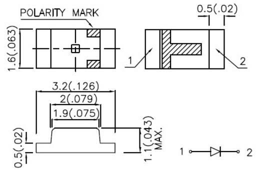 SMD LED 1206 Kék 60 mcd 120 ° 20 mA 3.65 V Kingbright KP-3216PBC-A