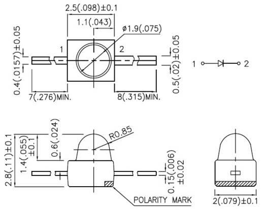 Kingbright LED axiális lábakkal, 2 mm, 10mcd, 40°, zöld, KM2520SGD01