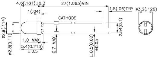LED kivezetéssel Piros Kerek 3 mm 60 mcd 34 ° 20 mA 2 V Kingbright
