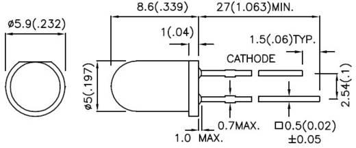 LED kivezetéssel Sárga Kerek 5 mm 40 mcd
