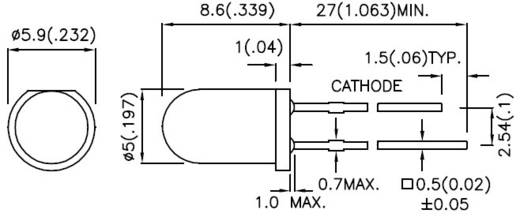 LED kivezetéssel Zöld Kerek 5 mm 20 mcd 30 ° 20 mA 2.2 V Kingbright