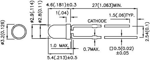 LED kivezetéssel Piros Kerek 3 mm 500 mcd 60 ° 20 mA 1.85 V Kingbright L-934SRD-G