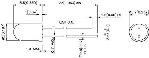 LED kivezetéssel Kék Kerek 5 mm 90 mcd