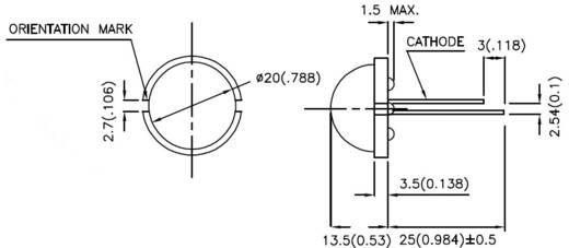 LED kivezetéssel Piros Kerek 20 mm 380.25 mc