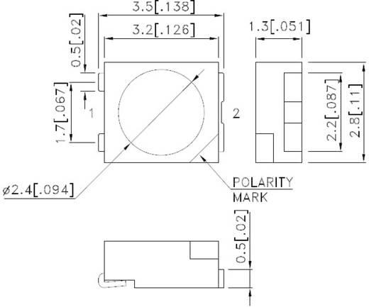 SMD LED PLCC2, 3000 mcd, 120°, 150 mA, 2,8 V, sárga, Kingbright KA-3529SYS-L