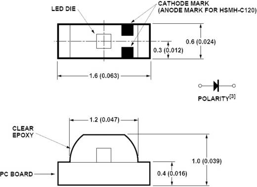 SMD LED 0603, 8 mcd, 155°, 20 mA, 2,2 V, narancs, Avago Technologies HSMD-C120