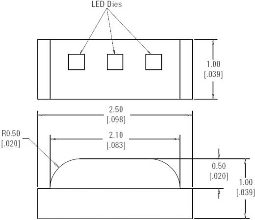SMD Side-Firing Chip-LED 80/50/60 mcd, 125°, piros/zöld-sárga/kék, Avago Technologies HSMF-C113