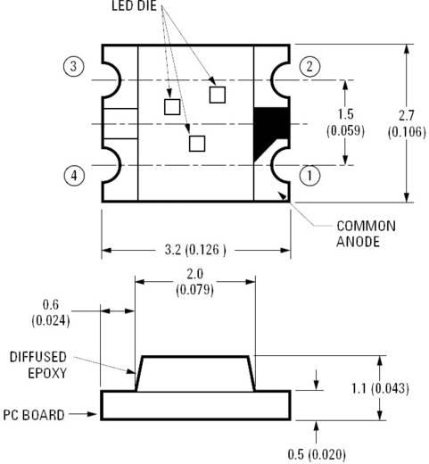 SMD Top-Mount Chip-LED 90/120/40 mcd, 130°, piros/zöld/kék, Avago Technologies HSMF-C118