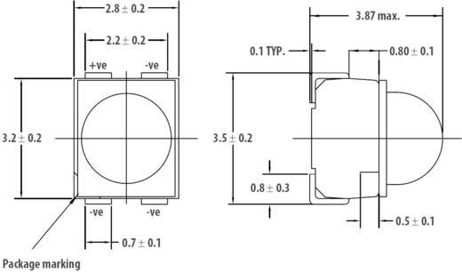 SMD LED lencsével, PLCC4, 4700 mcd, 30°, borostyán, Avago Technologies HSMA-A431-X90M1