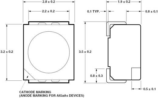SMD LED PLCC2, 12 mcd, 120°, 20 mA, 2,2 V, sárga, Avago Technologies HSMY-A100-J00J1