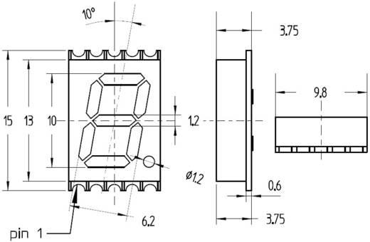 7 szegmenses kijelző, Piros 10 mm 2 V Számjegyek: 1 Avago Technologies HDSM-433C