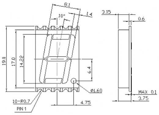 7 szegmenses kijelző, Zöld 14.22 mm 2.1 V Számjegyek: 1 Avago Technologies HDSM-531H