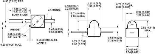 LED kivezetéssel Zöld Íves 1.9 mm 7 mcd