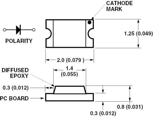 SMD LED 0805, 10 mcd, 170°, 20 mA, 2,1 V, piros, Avago Technologies HSMS-C170