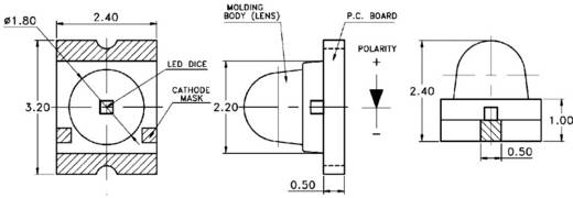 Szubminiatűr Poly-LED lencsével, 650 mcd, 15°, zöld, Avago Technologies ASMT-BG20-AS000
