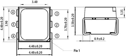 RGB SMD LED PLCC6, 745/1600/380 mcd, 120°, 20 mA, 2,1/3,2/3,2 V, Avago Technologies ASMT-YTB2-0BB02 RGB