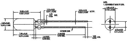 LED 5mm piros HLMP-HG65-VY0DD