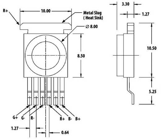RGB Moonstone SMD LED 120°, 3x1 W, Avago Technologies ASMT-MT00-00001 RGB