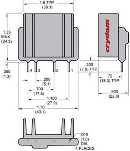Elektronikus SIP teljesítmény relé 25/10 A 12-280 V/AC, Crydom PF240D25
