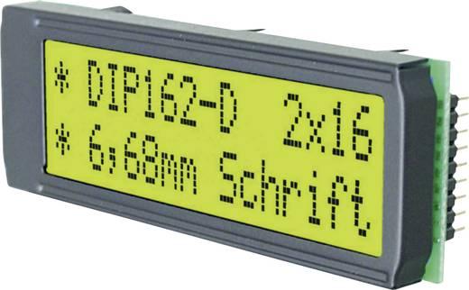 Alfanumerikus LCD DOT-mátrix kijelző modul 2x16, számmagasság: 6,68 mm, zöld-sárga, EA DIP162-DNLED