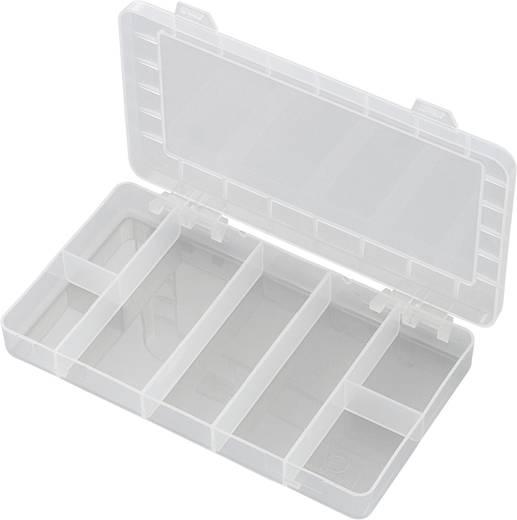 7 részes alkatrésztároló doboz, fehér, 192 x 110 x 24 mm