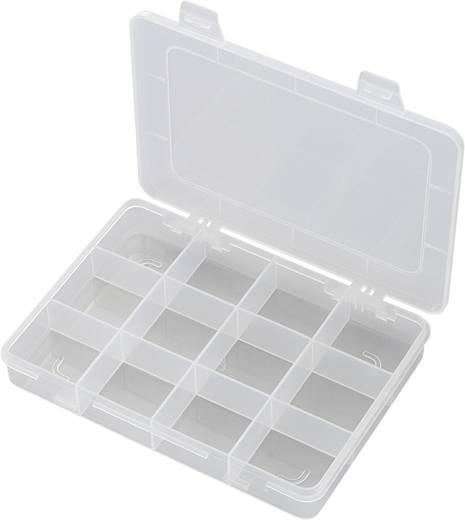 12 részes alkatrésztároló doboz, fehér, 184 x 124 x 25 mm