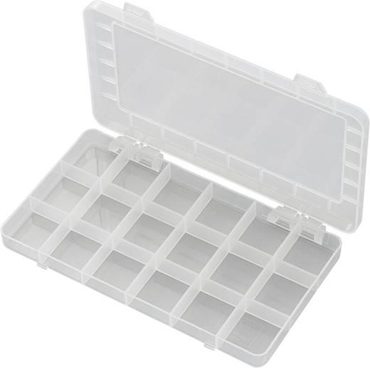 18 részes alkatrésztároló doboz, fehér, 195 x 100 x 13 mm