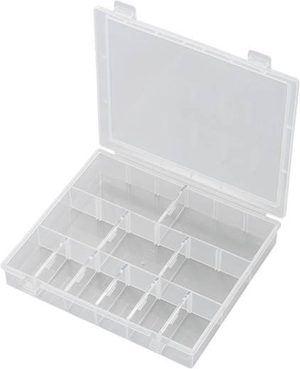 18 részes alkatrésztároló doboz, fehér, 170 x 140 x 25 mm