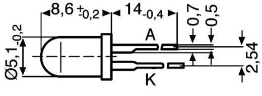 LED kivezetéssel Piros Kerek 5 mm 200 mcd 30 ° 20 mA 2 V GL 5 R