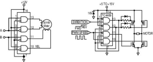 PMIC - gate meghajtó Microchip Technology TC 4469 CPD Invertáló, Nem invertáló Low-side PDIP-14