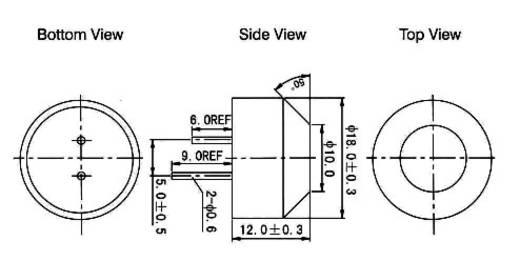 Ultrahang-szenzor, 40 kHZ, Ø18 x 12 mm, A-18P20