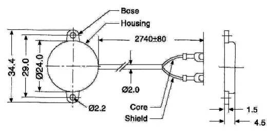 Rázkódás szenzor, PS-1 PS-1 Fröccsenő víz ellen védett (Ø x Ma) 24 mm x 4.5 mm