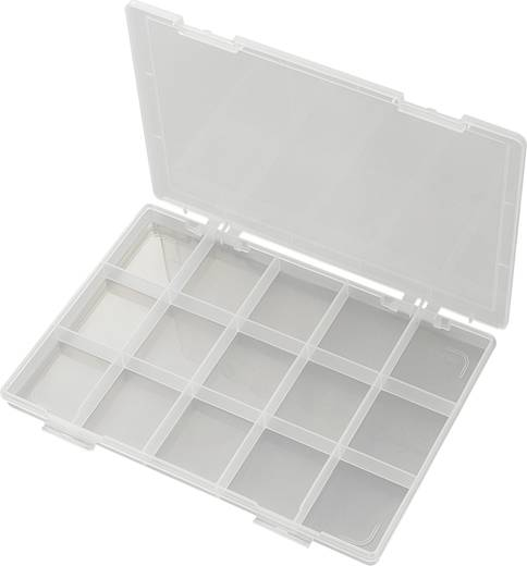 15 részes alkatrésztároló doboz, fehér, 285 x 209 x 23 mm