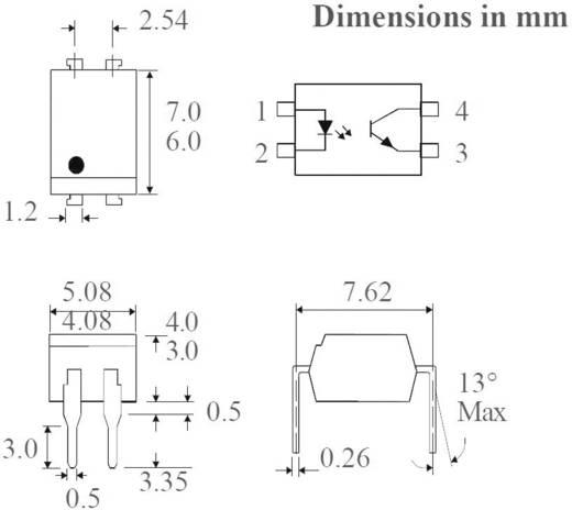 Optocsatoló 1 db fototranzisztorral, DIL 4, Isocom Components SFH615A-3X