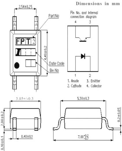 Optocsatoló 1 db fototranzisztorral, SMD, Isocom Components IS181GB