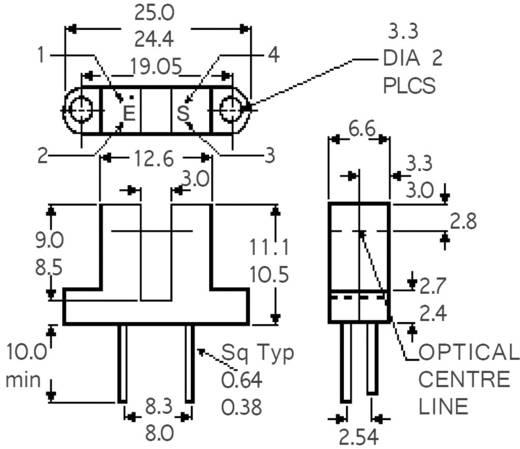 Villás fénysorompó, GaAs infra dióda, Isocom Components H21A2