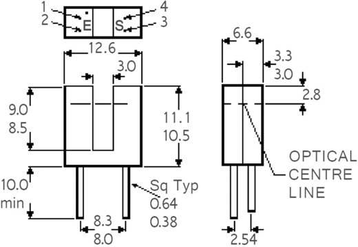 Villás fénysorompó, GaAs infra dióda, Isocom Components H22A3