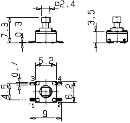SMD nyomókapcsoló 1 x ki/(be), 12 V/50 mA, Mentor 1254.1007