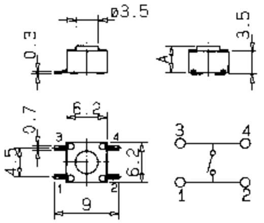 SMD nyomókapcsoló 1 x ki/(be), 12 V/50 mA, Mentor 1254.1004