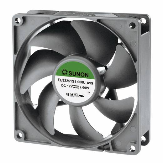 Axiális ventilátor (ipari), 12 V/DC 87.49 m³/h (Sz x Ma x Mé) 92 x 92 x 25 mm Sunon