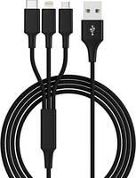 USB 2.0, Apple iPad/iPhone/iPod, USB 3.1 Csatlakozókábel 1.20 m Fekete